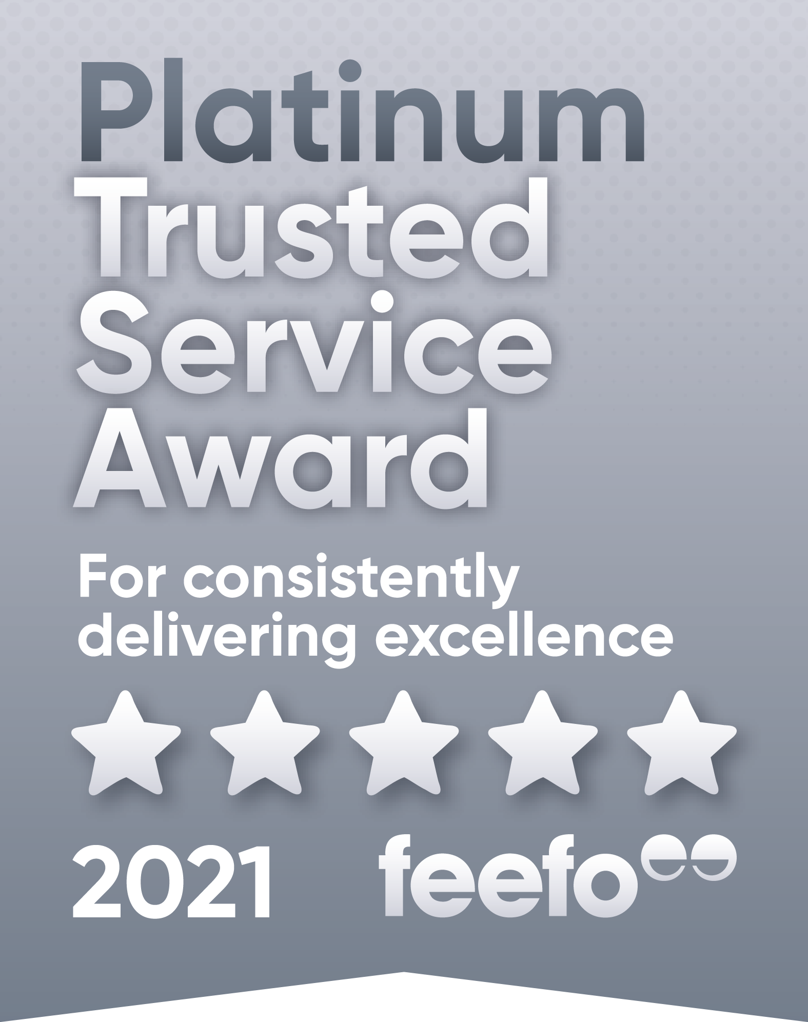 Feefo Platinum Trusted Service Award for consistently delivering excellence, 2020